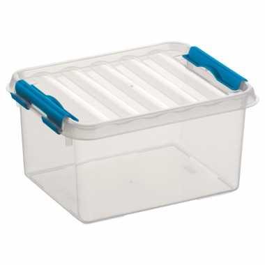 10x stuks opbergboxen/opbergdozen 2 liter kunststof transparant/blauw