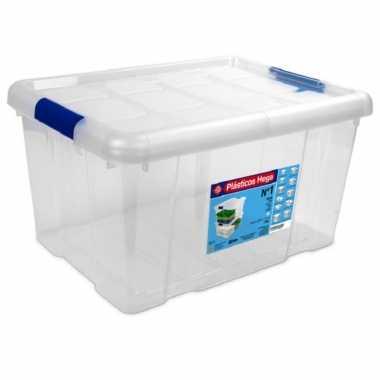 1x opbergboxen/opbergdozen met deksel 16 liter kunststof transparant/blauw