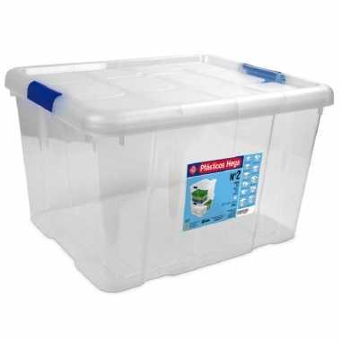 1x opbergboxen/opbergdozen met deksel 25 liter kunststof transparant/blauw
