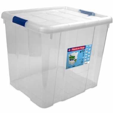 1x opbergboxen/opbergdozen met deksel 35 liter kunststof transparant/blauw