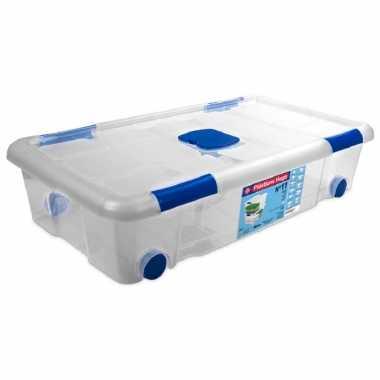1x opbergboxen/opbergdozen met deksel en wieltjes 30 liter kunststof transparant/blauw