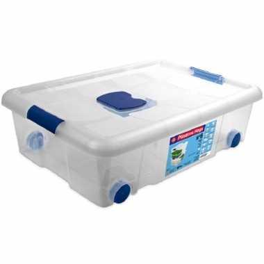1x opbergboxen/opbergdozen met deksel en wieltjes 31 liter kunststof transparant/blauw