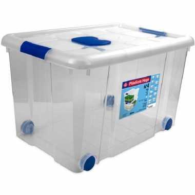 1x opbergboxen/opbergdozen met deksel en wieltjes 55 liter kunststof transparant/blauw