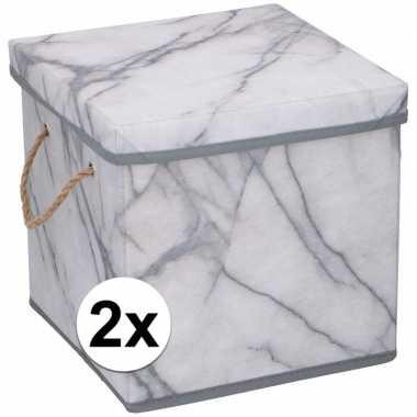 2x opbergboxen / opbergdozen marmer 31 cm 44 liter