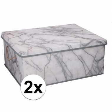 2x opbergboxen / opbergdozen marmer 50 cm 44 liter