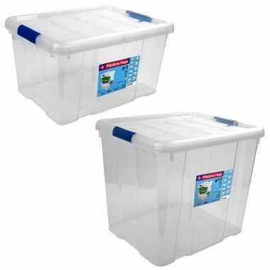 2x opbergboxen/opbergdozen met deksel 16 en 35 liter kunststof transparant/blauw