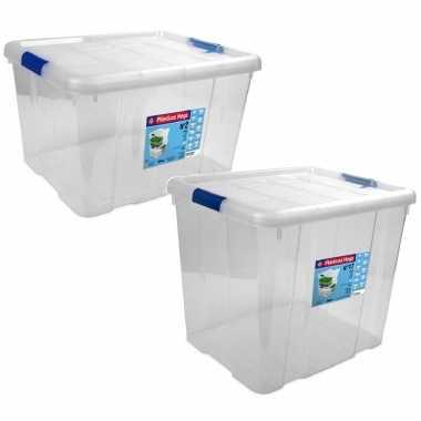 2x opbergboxen/opbergdozen met deksel 25 en 35 liter kunststof transparant/blauw