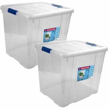 2x opbergboxen/opbergdozen met deksel 35 liter kunststof transparant/blauw