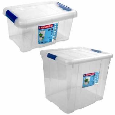 2x opbergboxen/opbergdozen met deksel 5 en 35 liter kunststof transparant/blauw