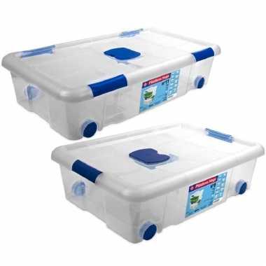 2x opbergboxen/opbergdozen met deksel en wieltjes 30 en 31 liter kunststof transparant/blauw