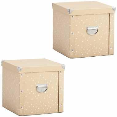 2x opbergdozen/boxen voor 27 kerstballen goud 30 x 30 cm
