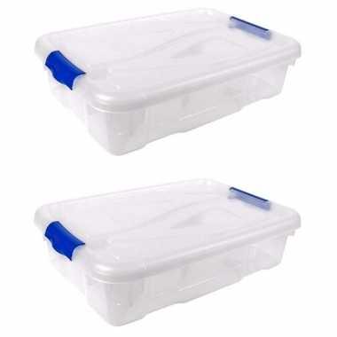 2x stuks opberg boxen/opbergdozen 20 liter 58 x 39 x 13 cm kunststof