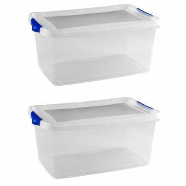 2x stuks opberg boxen/opbergdozen 9 liter 37 x 24 x 16 cm kunststof