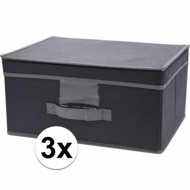 3x grijze opbergdozen/opbergboxen met vaste deksel 39 cm