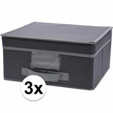 3x grijze opbergdozen/opbergboxen met vaste deksel 44 cm