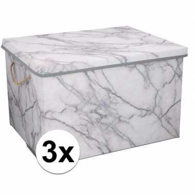 3x opbergboxen / opbergdozen marmer 50 cm 66 liter