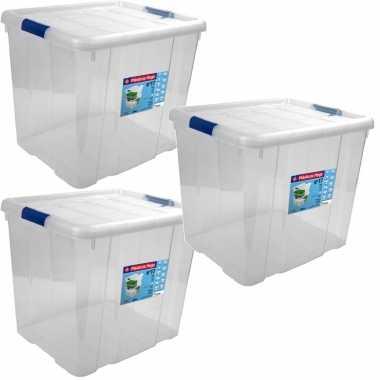 3x opbergboxen/opbergdozen met deksel 35 liter kunststof transparant/blauw