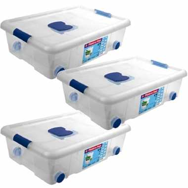 3x opbergboxen/opbergdozen met deksel en wieltjes 31 liter kunststof transparant/blauw