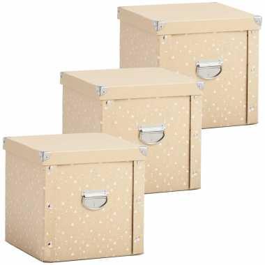 3x opbergdozen/boxen voor 27 kerstballen goud 30 x 30 cm