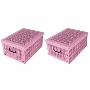 3x stuks opbergboxen/opbergdozen lichtroze 51 x 37 cm