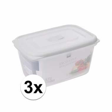 3x transparant vershoudbakjes 1700 ml