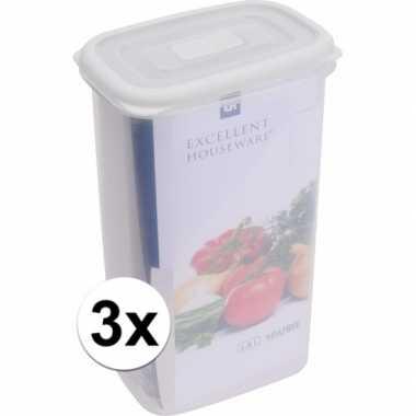 3x transparant vershoudbakjes 1800 ml