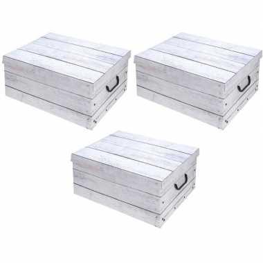 3x witte opbergdozen/opbergboxen hout print 51 cm