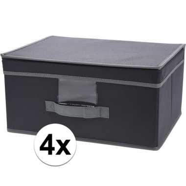 4x grijze opbergdozen/opbergboxen met vaste deksel 39 cm