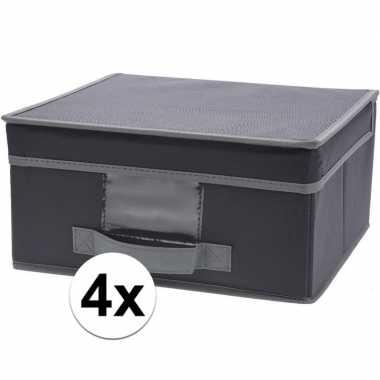 4x grijze opbergdozen/opbergboxen met vaste deksel 44 cm
