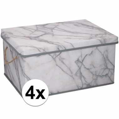 4x opbergboxen / opbergdozen marmer 40 cm 25 liter