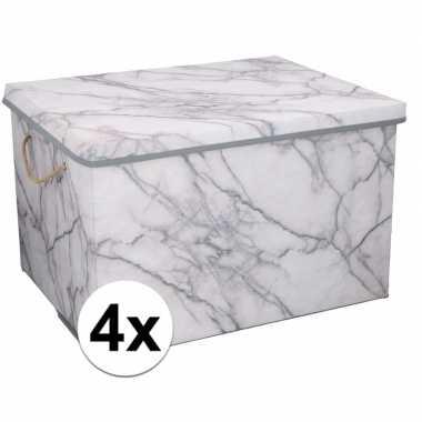 4x opbergboxen / opbergdozen marmer 50 cm 66 liter