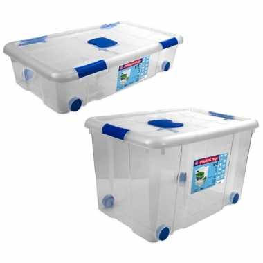 4x opbergboxen/opbergdozen met deksel en wieltjes 31 en 55 liter kunststof transparant/blauw