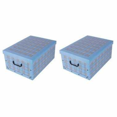 4x stuks opbergboxen/opbergdozen blauw 53 x 38 cm