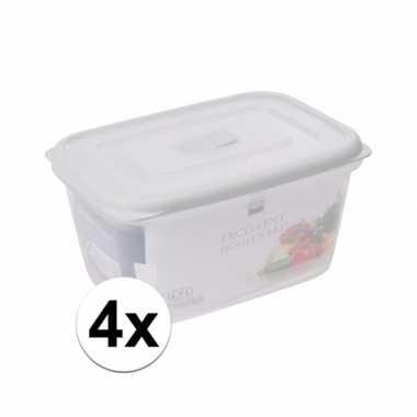 4x transparant vershoudbakjes 1700 ml