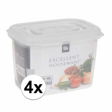 4x transparant vershoudbakjes 600 ml