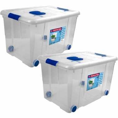 5x opbergboxen/opbergdozen met deksel en wieltjes 55 liter kunststof transparant/blauw