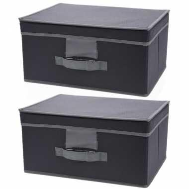 5x stuks grijze opbergdoos/opbergbox met vaste deksel 39 cm