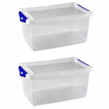 8x stuks opberg boxen/opbergdozen 4 liter 29 x 19 x 13 cm kunststof