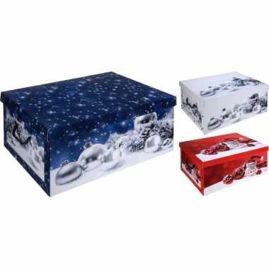 Blauwe kerstballen opbergbox 49 cm