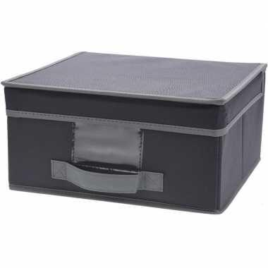 Grijze opbergdoos/opbergbox met vaste deksel 44 cm