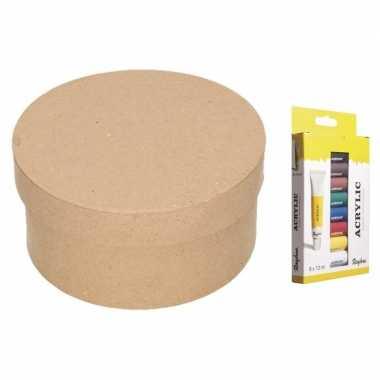 Hobbypakket ronde opbergdoos maken met acrylverf