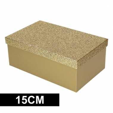 Kado doosje goud glitter 15 cm