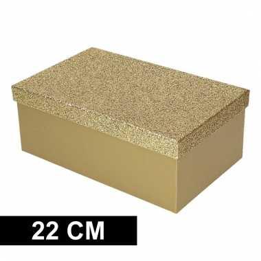 Kado doosje goud glitter 22 cm