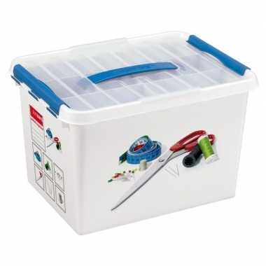 Naaidoos/opbergbox met vakken 22 liter