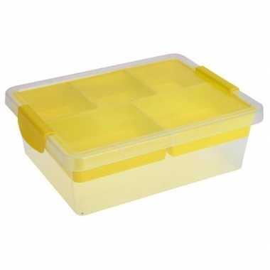 Opbergbox/opbergdoos 5-vaks trays geel 33 cm