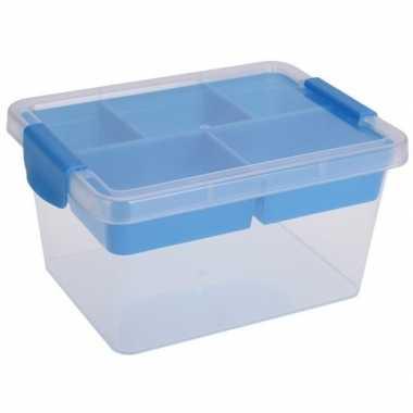 Opbergbox/sorteerdoos 5-vaks tray blauw 24 cm