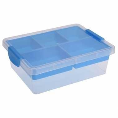 Opbergbox/sorteerdoos 5-vaks tray blauw 33 cm
