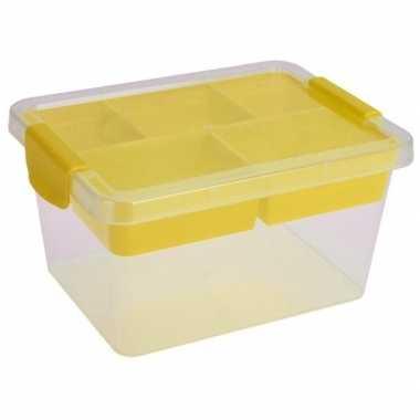 Opbergbox/sorteerdoos 5-vaks tray geel 24 cm