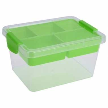 Opbergbox/sorteerdoos 5-vaks tray groen 24 cm
