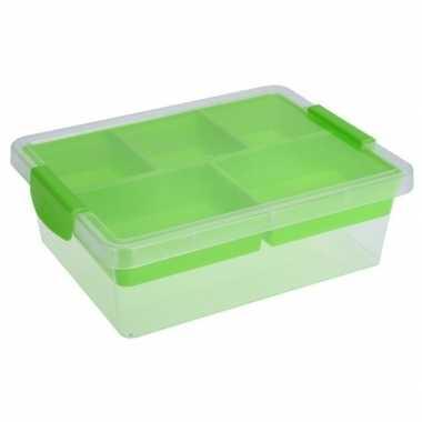 Opbergbox/sorteerdoos 5-vaks tray groen 33 cm